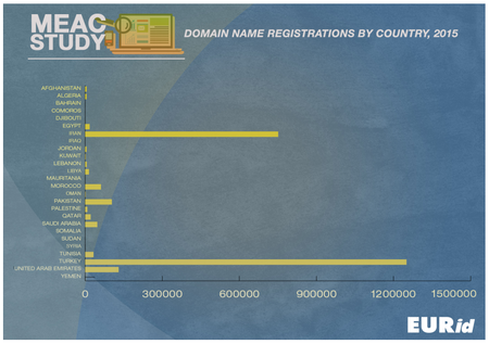 Middle East and Adjoining Countries Domain Name Registrations by Country